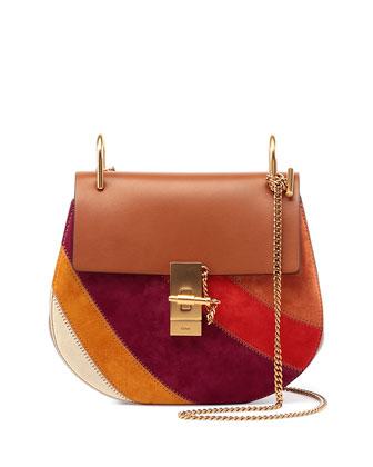 Drew Patchwork Suede Shoulder Bag, Caramel