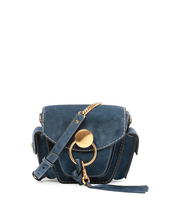 Jodie Small Suede Camera Bag, Navy