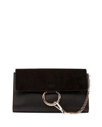 Faye Leather & Suede Clutch Bag, Black