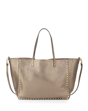 Rockstud Reversible Tote Bag, Pewter/Gold