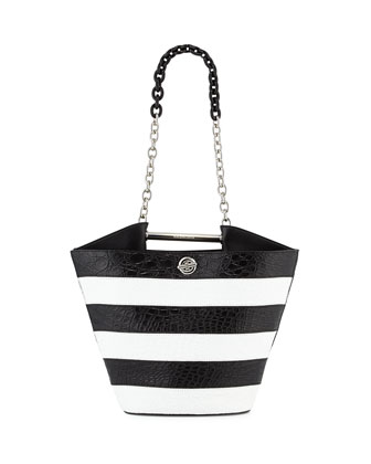 Mini Striped Bucket Bag, Black/White