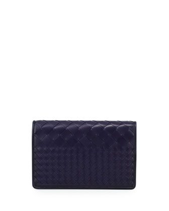Intrecciato Medium Woven Clutch Bag, Atlantic Blue
