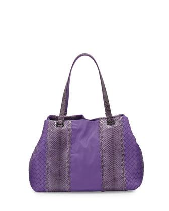 Lambskin & Watersnake Medium Intrecciato Tote Bag, Byzantine Purple
