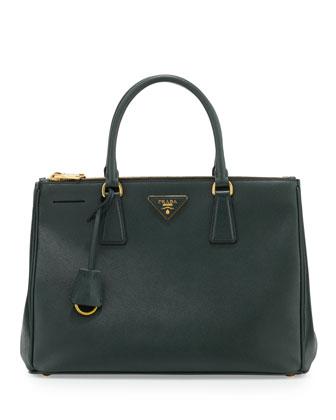 Saffiano Lux Double-Zip Tote Bag, Emerald (Emerald)