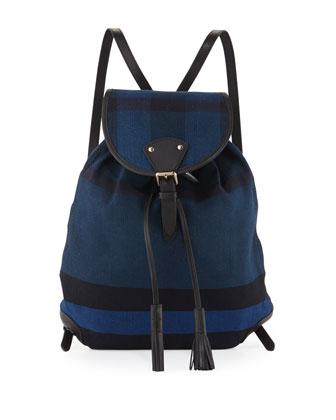 Chiltern Canvas Check Medium Backpack, Ultramarine Blue