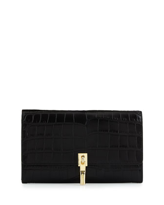 Cynnie Embossed Leather Wallet on Strap, Black