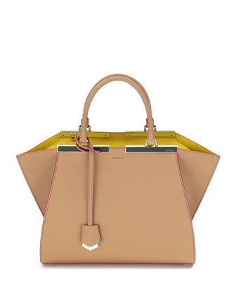 3Jours Leather Satchel Bag, Camel/Multi