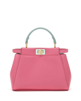 Peekaboo Micro Leather Satchel Bag, Pink