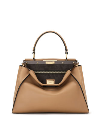 Peekaboo Medium Leather Satchel Bag, Camel