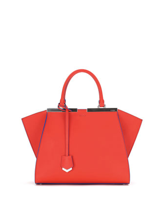 Trois-Jour Petite Bicolor Tote Bag, Red/Blue