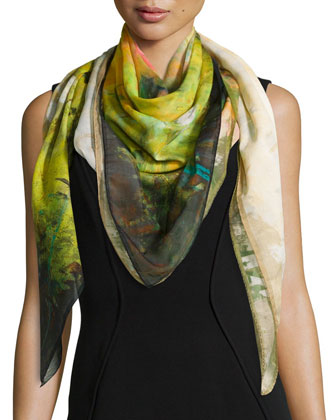 Impressionistic Bloom Scarf, Pineapple/Multi