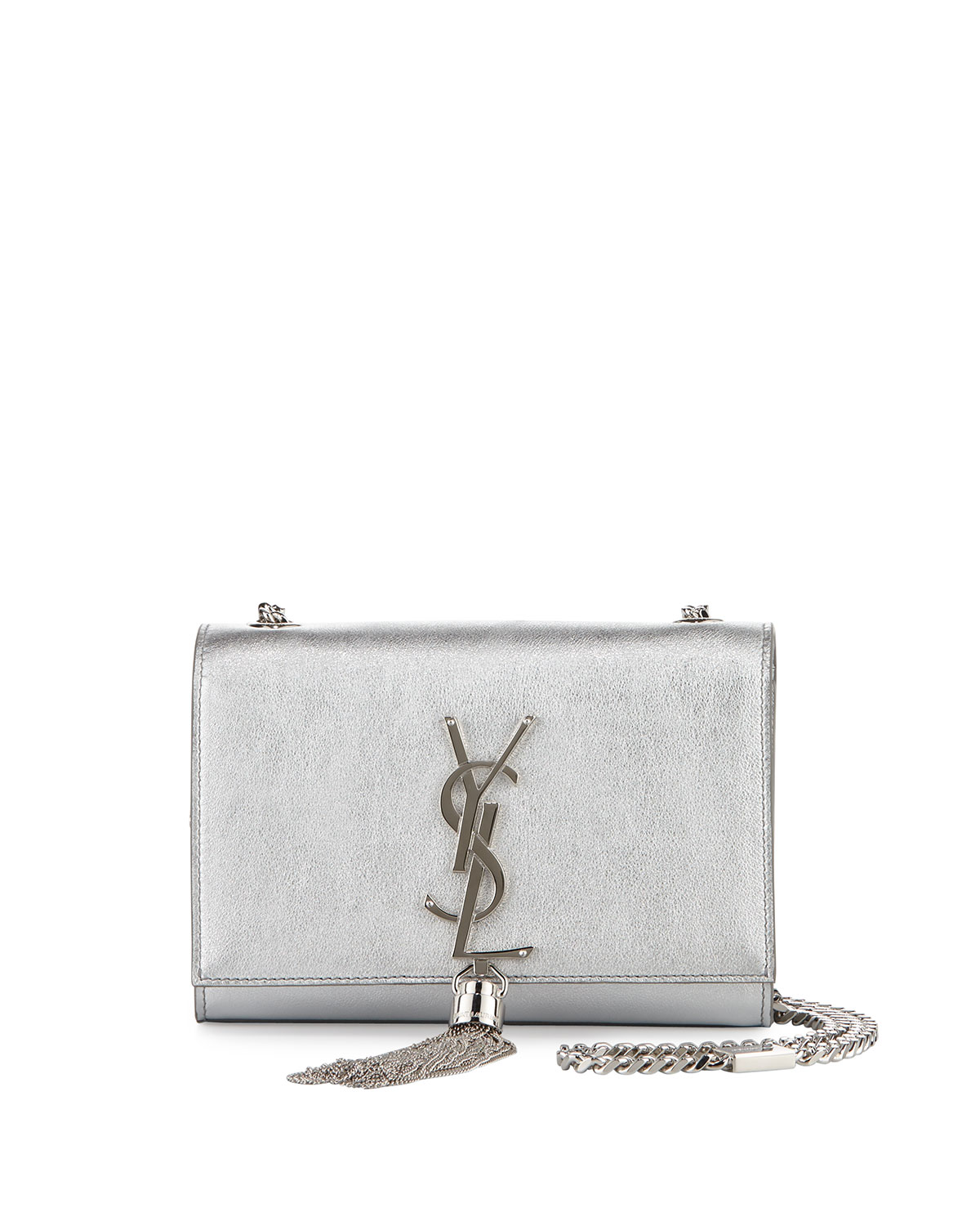 Yves Saint Laurent Monogram Metallic Leather Crossbody Bag, Silver