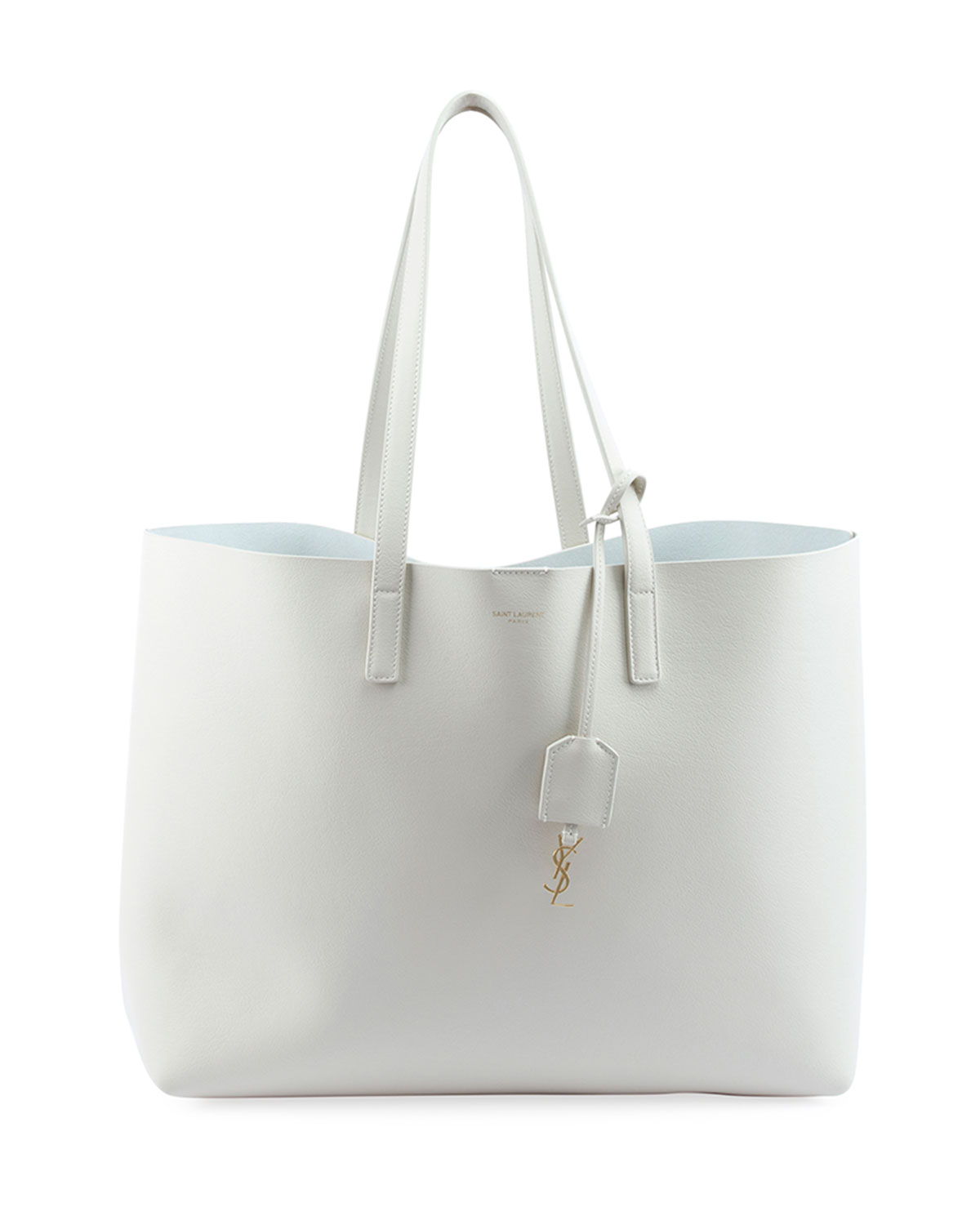 Large Leather Shopping Tote Bag, White - Saint Laurent