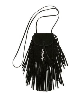 Anita Mini Flat Suede Shoulder Bag with Fringe, Black