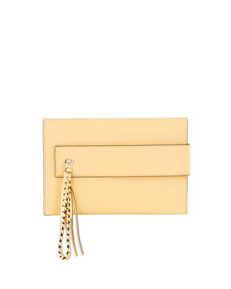 Nina Small Colored-Edge Clutch Bag, Blonde/Black Edge