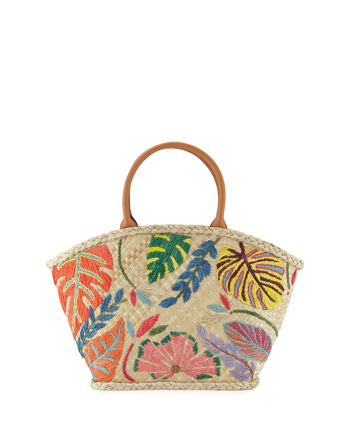 Tory Burch Leaf Appliqué Straw Tote, Natural