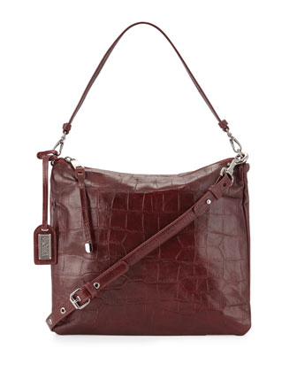 Coralie Crocodile-Embossed Leather Shoulder Bag, Burgundy