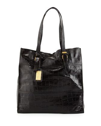 Liv Crocodile-Embossed Leather Tote Bag, Espresso