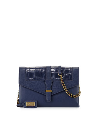 Adelle Flap-Top Leather Crossbody Bag, Navy