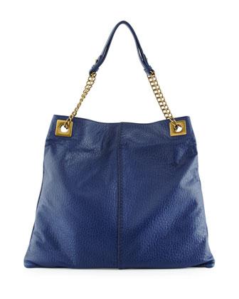 Greta Leather Shoulder Bag, Navy