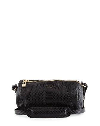 Snake-Embossed Leather Barrel Bag, Black