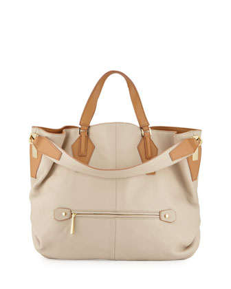 Two-Tone Leather Hobo Bag, Camel/Multi