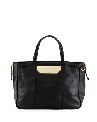 Pebbled-Leather Satchel Bag, Black