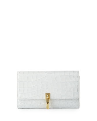 Cynnie Embossed Leather Wallet on Strap, White