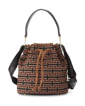 Cynnie Woven Bucket Bag, Black/Multi
