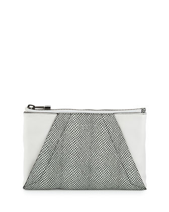 Snake-Embossed Leather Evening Clutch Bag, White/Black