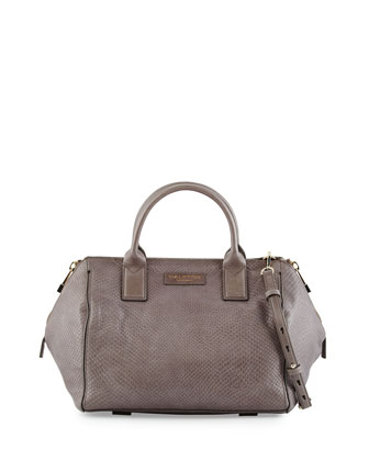 Lizard-Embossed Leather Medium Satchel Bag, Dark Gravel