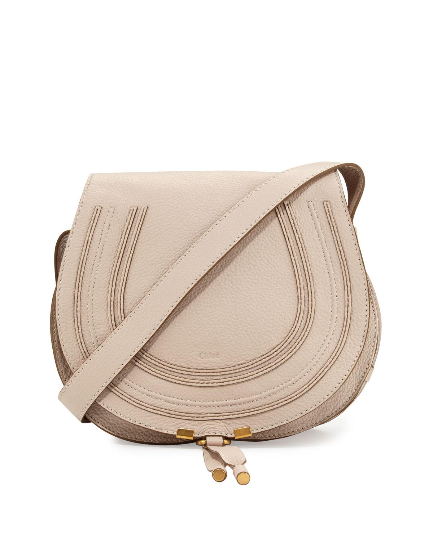 Marcie Medium Crossbody Saddle Bag, White - Chloe