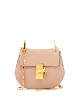 Drew Mini Lambskin Shoulder Bag, Cement Pink