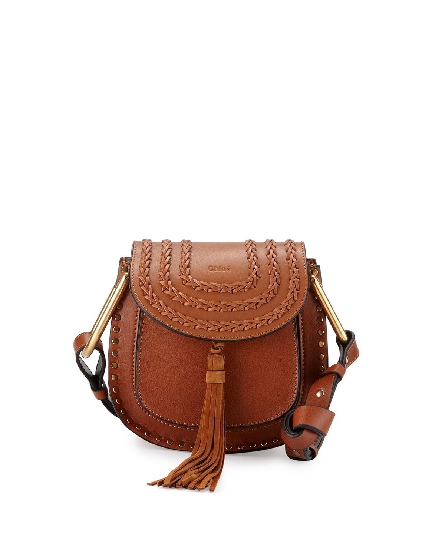 Hudson Stud Leather Mini Saddle Bag, Caramel - Chloe