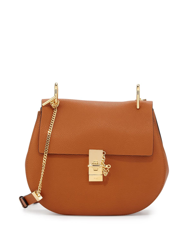 Drew Medium Grain Leather Saddle Bag, Caramel/Gold, Size: M - Chloe