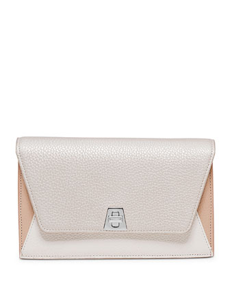 Anouk Leather Clutch Bag w/Chain, White/Silver/Multi