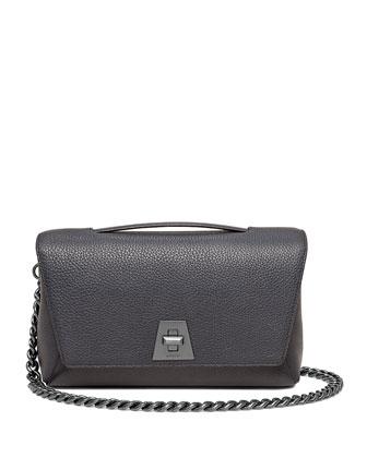 Calf Leather Flap Bag w/Chain Strap, Denim