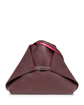 Ai Medium Leather Messenger Bag, Burgundy/Rose