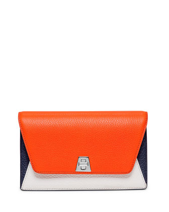 Anouk Leather Chain Envelope Clutch Bag, Orange Multi