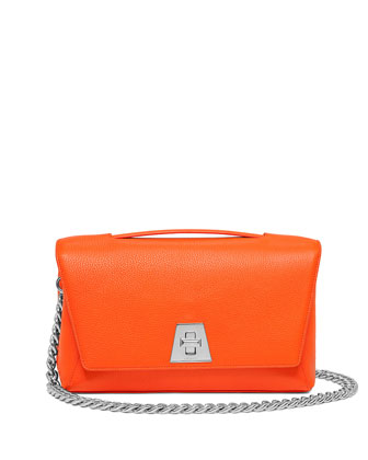 Leather Chain-Strap Flap Bag, Orange