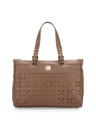 Leather Laser-Cut Tote Bag, Beige