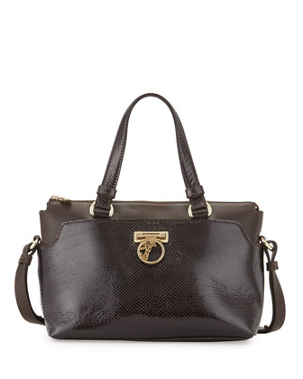 Leather Satchel Bag, Dark Brown/Gold