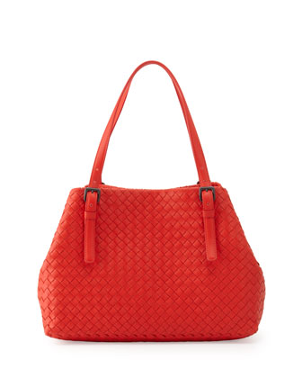 Intrecciato Medium A-Shaped Tote Bag, Vesuvio Red