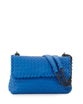 Double-Compartment Lambskin 1/3-Flap Shoulder Bag, Bluette