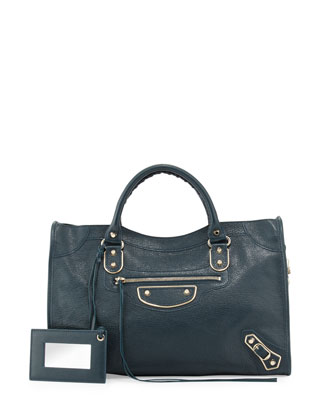 Metallic Edge Classic City Bag, Blue Paon