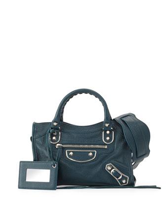 Metallic Edge Classic Mini City Crossbody Bag, Blue Paon