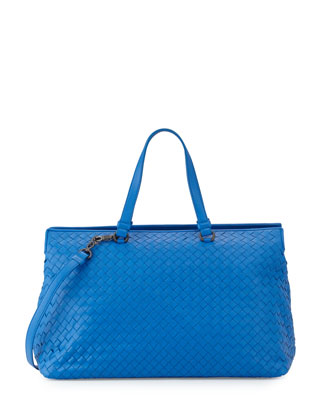 Large Double-Compartment Lambskin Tote Bag, Bluette
