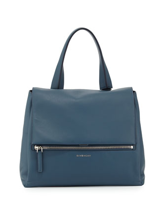 Pandora Pure Medium Leather Satchel Bag, Mineral Blue