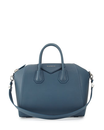 Antigona Medium Leather Satchel Bag, Mineral Blue