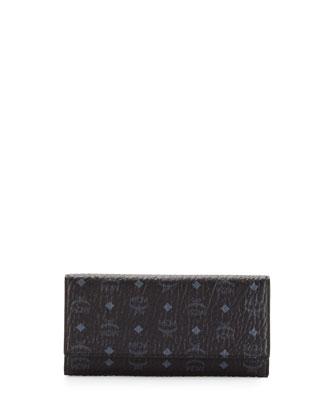 Color Visetos Three-Fold Wallet, Black